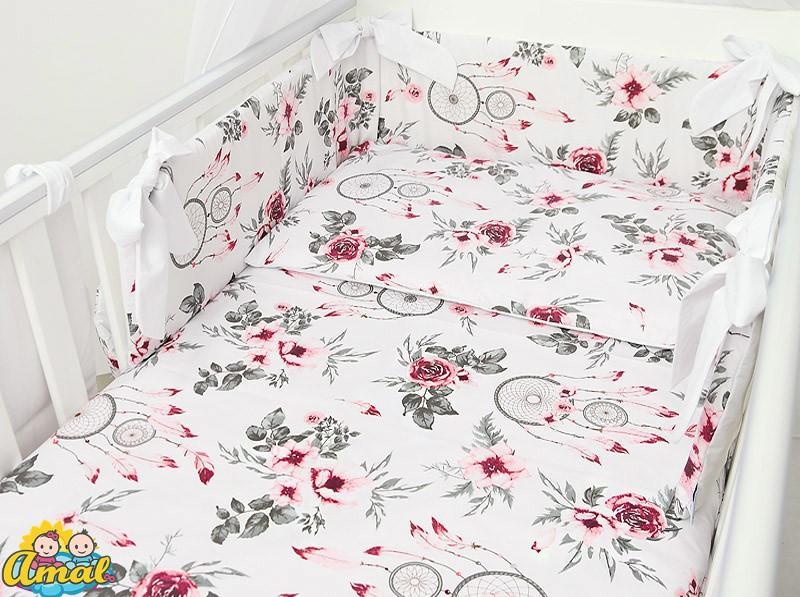AMAL Súprava do postieľky DECOR, bordový kvet / biela, 120x90cm