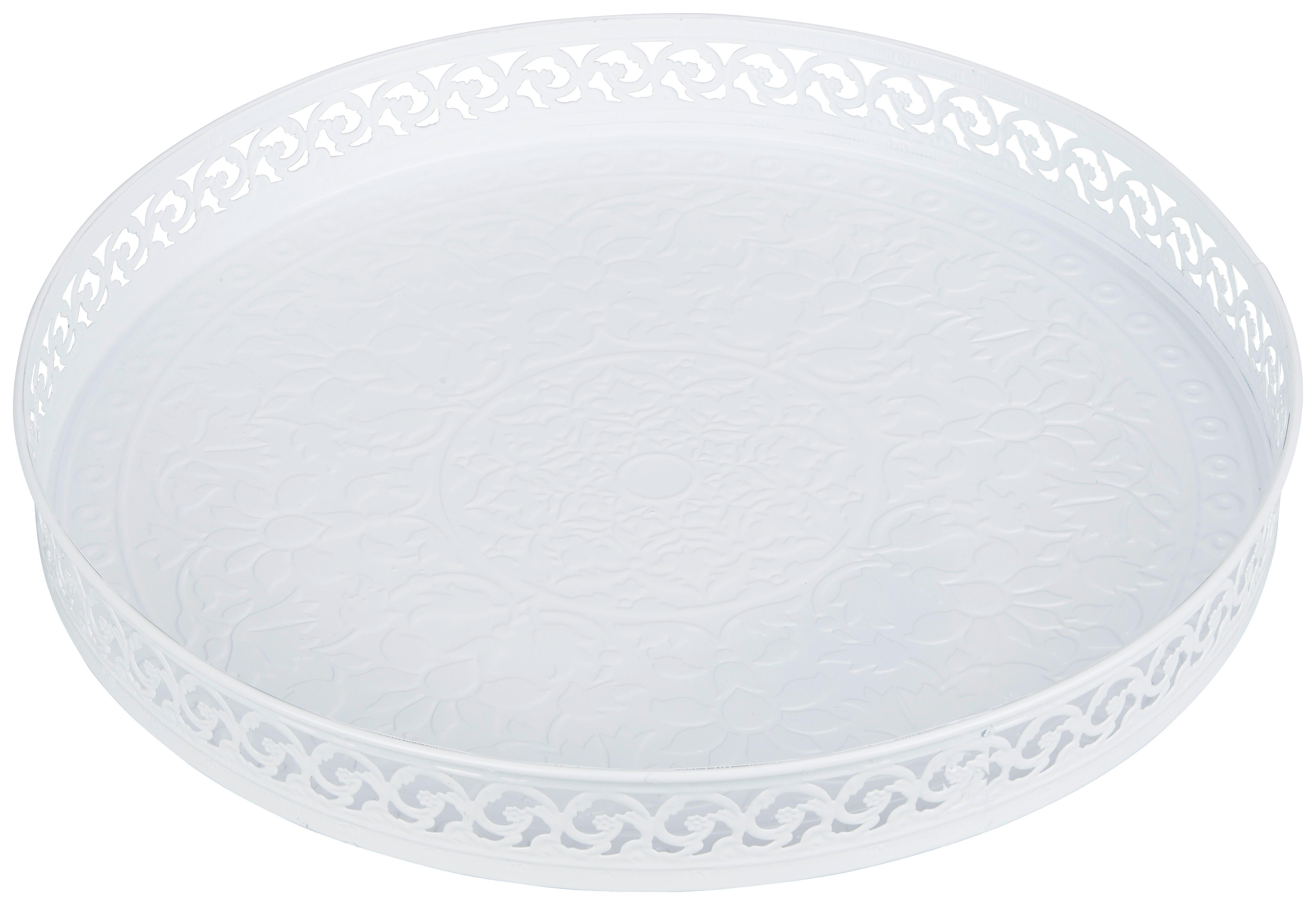 Ambia Home DEKORAČNÁ TÁCŇA, kov, 39/4 cm - biela