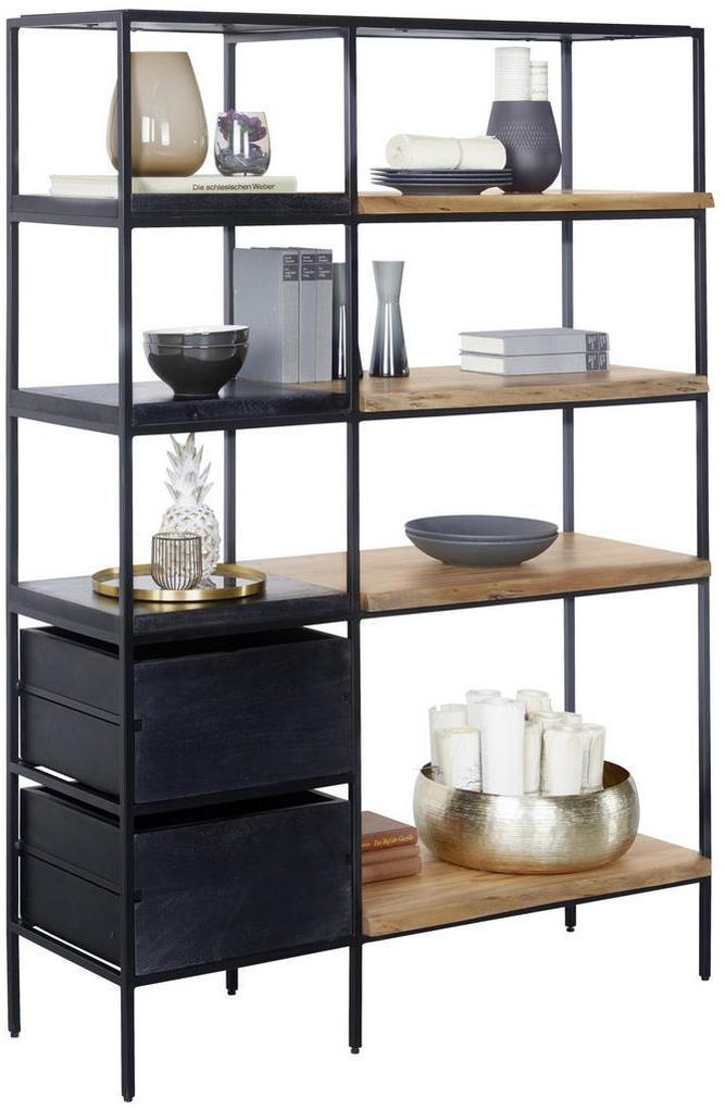 Ambia Home REGÁLOVÝ DIEL, čierna, farby akácie, železo, akácia, mangové drevo, 105/152/35 cm - čierna, farby akácie