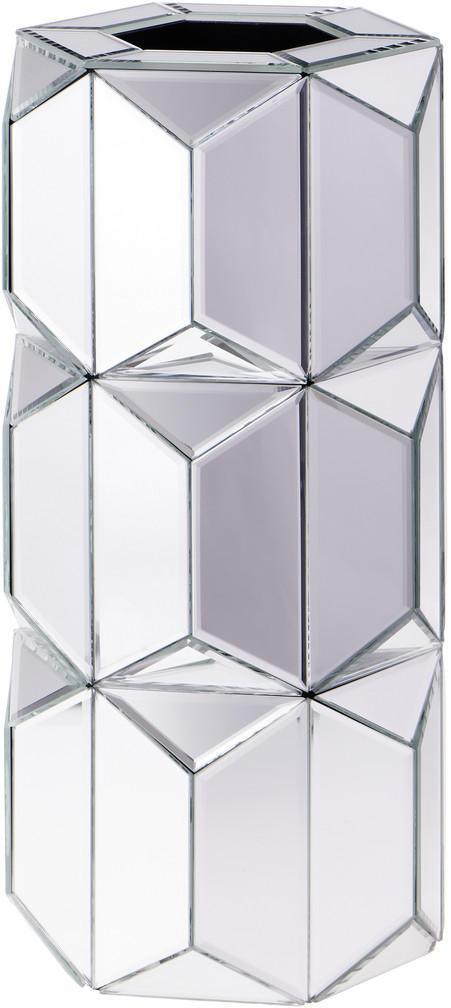Ambia Home VÁZA, sklo, kompozitné drevo, 40 cm - strieborná