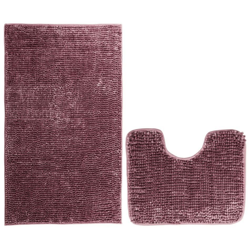 AmeliaHome Sada kúpeľňových predložiek Bati vínová, 2 ks 50 x 80 cm, 40 x 50 cm