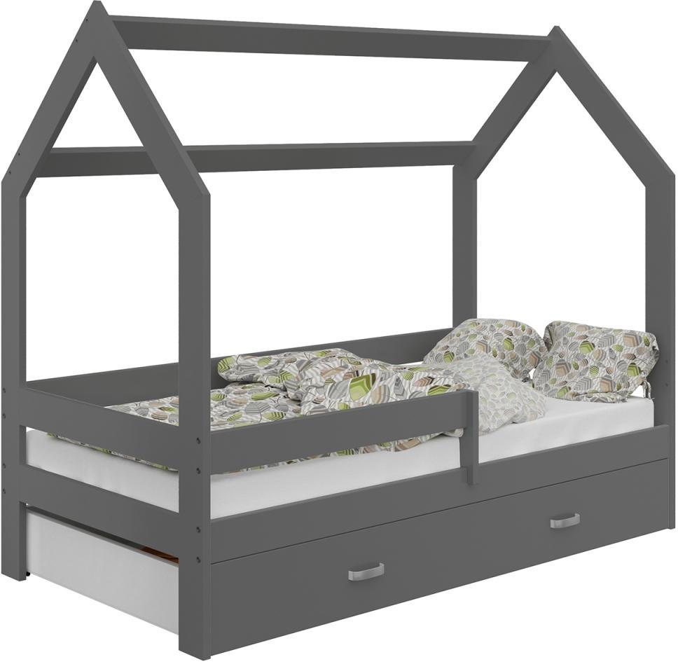 AMI nábytok Dětská postel DOMČEK D3 80x160cm masiv sedá