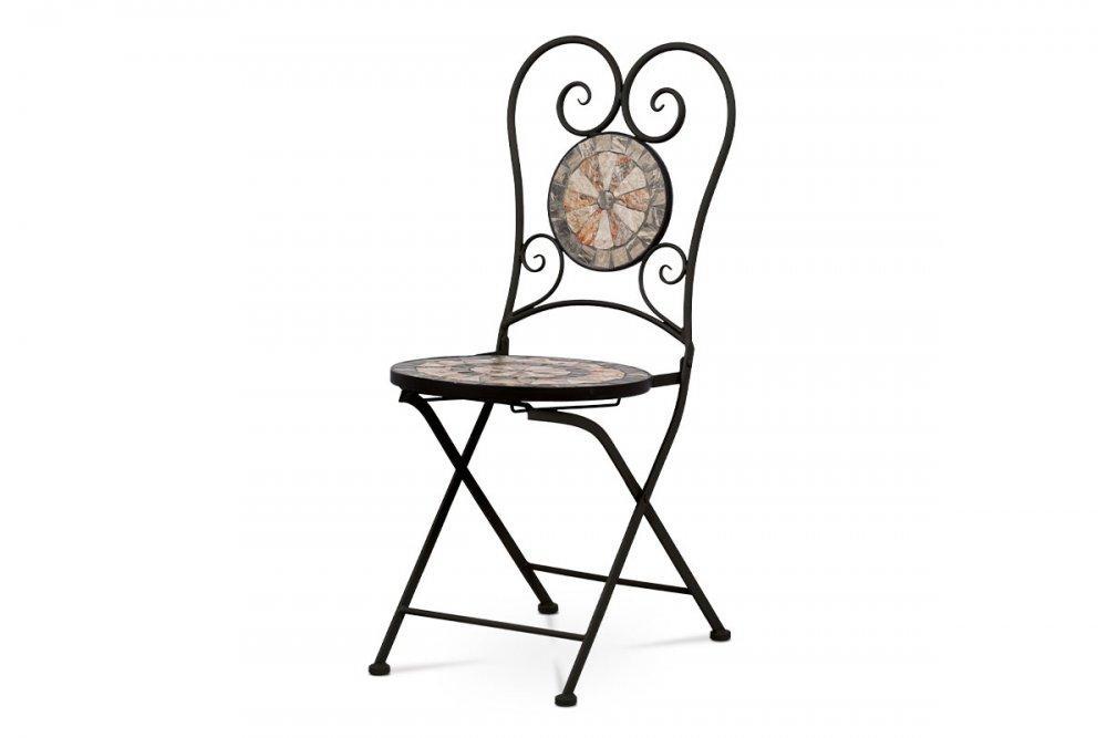 AUTRONIC JF2226 Záhradná stolička, keramická mozajka, kovová konštrukcia, čierny matný lak (typovo ku stolu JF2225 a lavici JF2227)