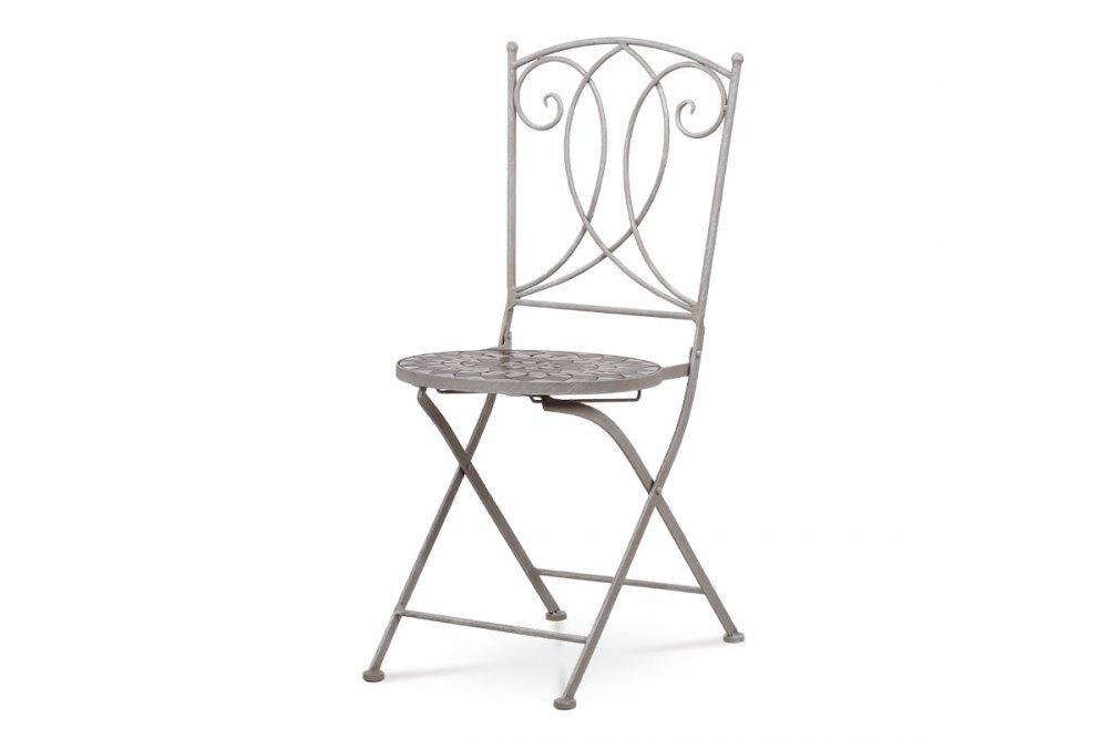 AUTRONIC JF2229 Záhradná stolička, keramická mozajka, kovová konštrukcia, sivý lak Antik (typovo ku stolu JF2228 a lavici JF2230)