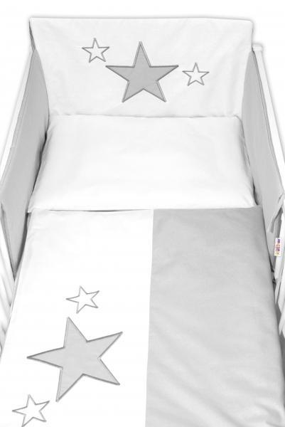 BABY NELLYS - 5-dielna súprava do postieľky Baby Stars - sivá, veľkosť 135x100 cm