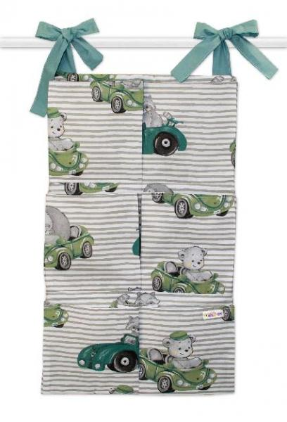 BABY NELLYS - Bavlnený vreckár na postielku Baby Car, zelená