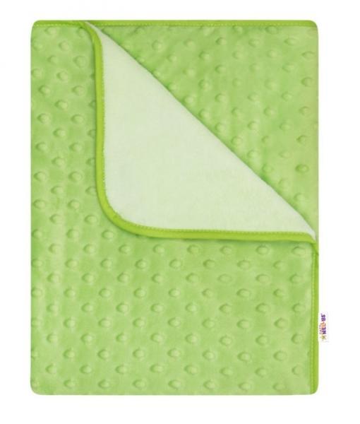 BABY NELLYS - Detská luxusná obojstranná deka s Minky 80x90 cm, zelená/krémová