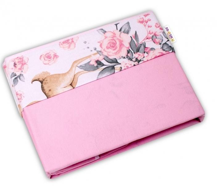 BABY NELLYS - Obojstranná letná deka Bavlna + jersey 100x75cm, Srnka a ruže - ružová