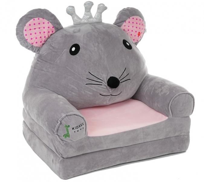 Baby Nellys Plyšové kresielko rozkladacie 3v1 - Myška, sivá /ružová