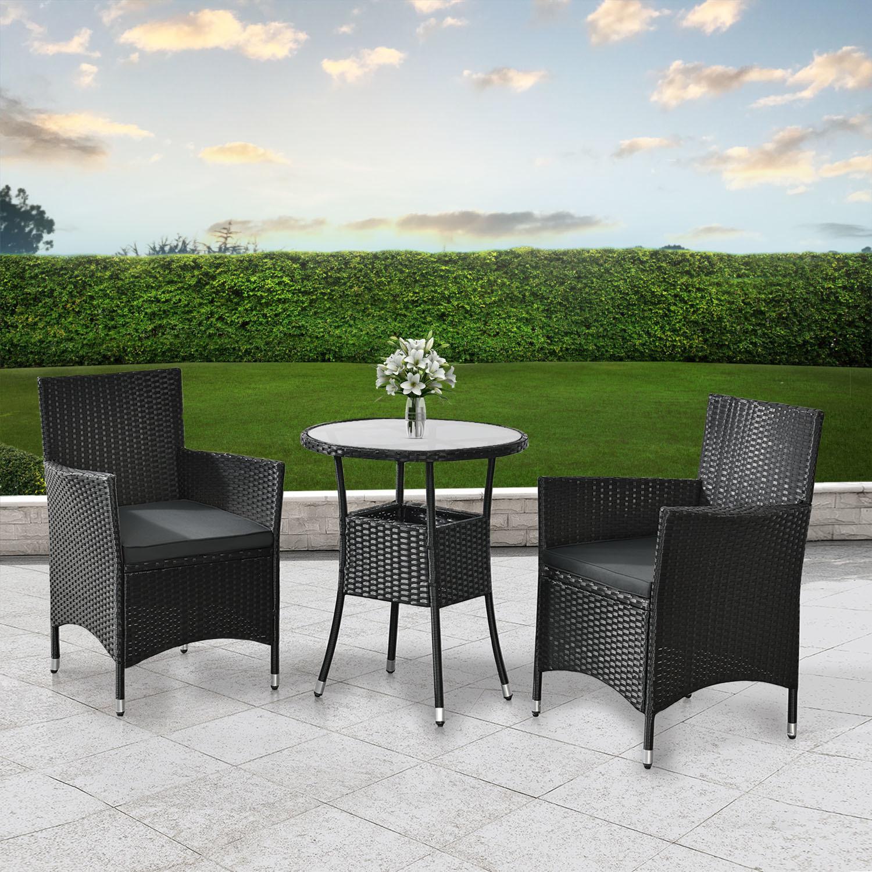 Balkónový set Bayamo - čierny + šedé podušky