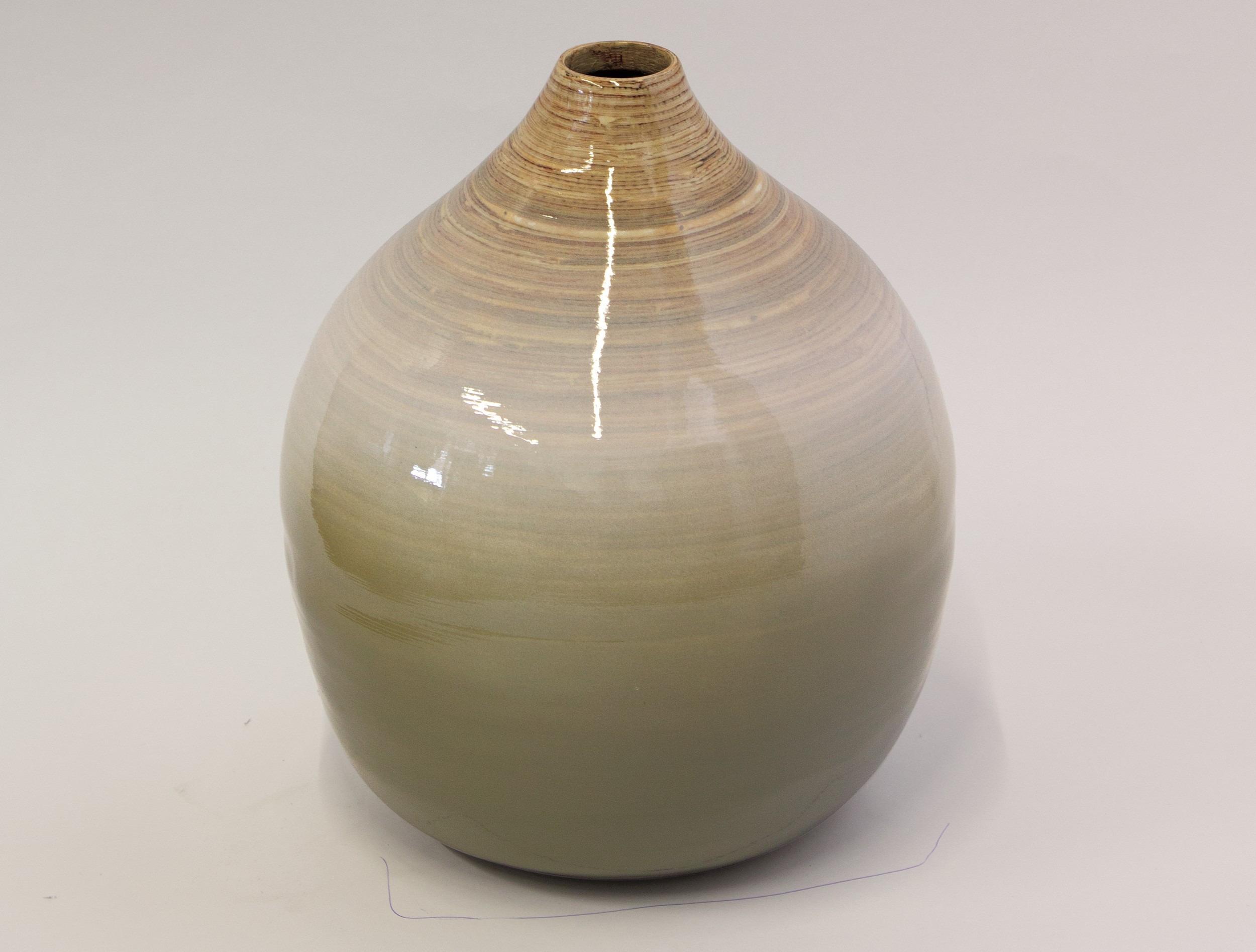 Bambusová dekoratívna váza výška 30 cm, šedo-biela