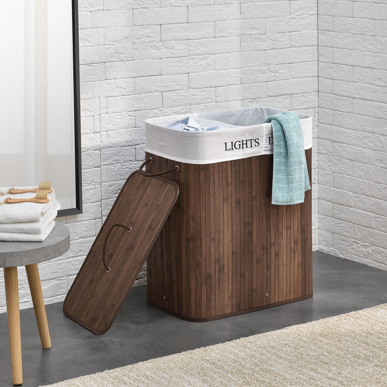 Bambusový kôš na prádlo Curly 100 litrov, hnedý