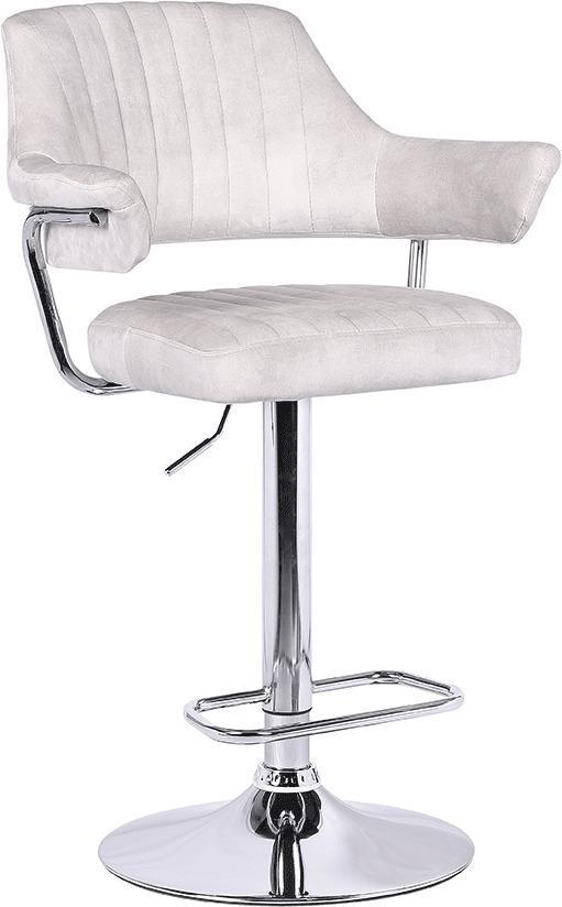 Barová stolička, béžová látka s efektom brúsenej kože, ACANTA