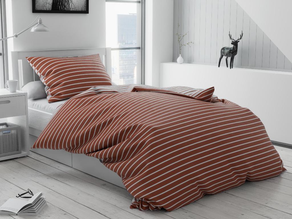 Bavlnené obliečky Caprivi hnedé hotelové vrecko Rozměr povlečení: 70x90 cm; 140x220 cm