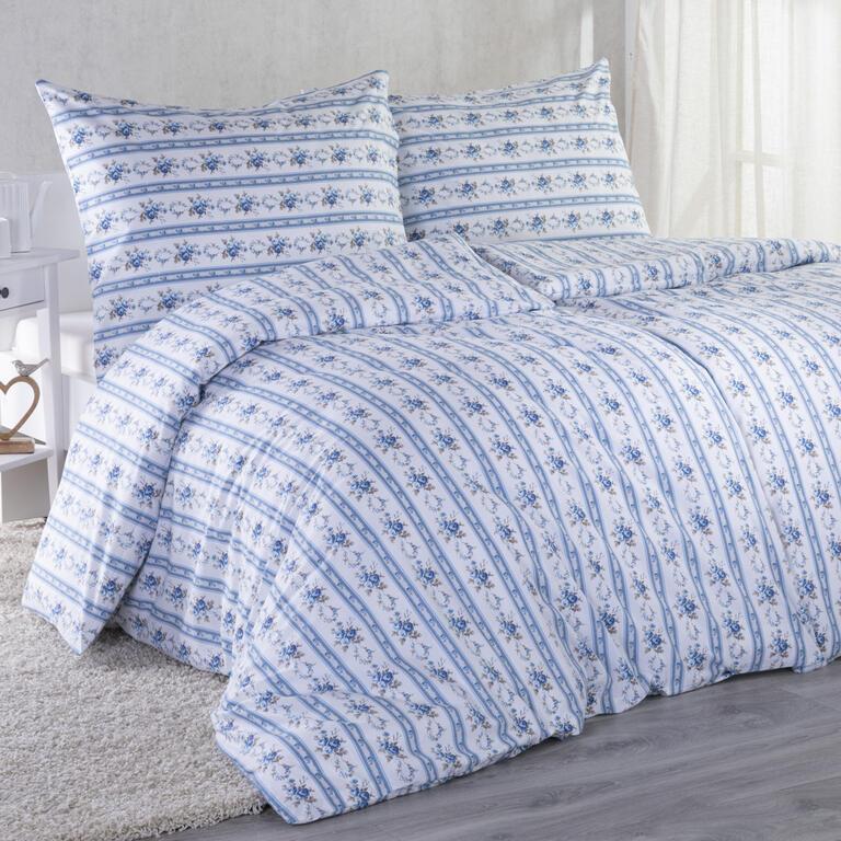Bavlnené posteľné obliečky ROZÁLIE modrá predĺžená dĺžka