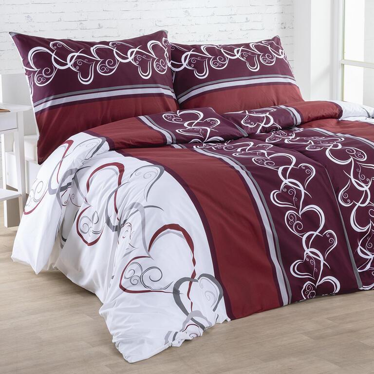 Bavlnené posteľné obliečky SRDCE červenohnedé štandardná dĺžka