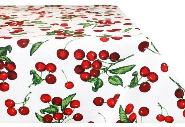 Bavlnený obrus na stôl MONDY so vzormi čerešní 90x90 cm