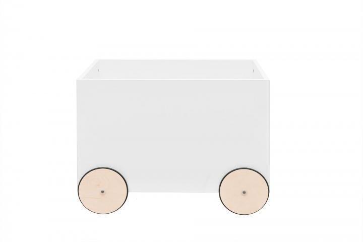 BELLAMY Lotta úložný box na kolieskach, matná biela/drevo