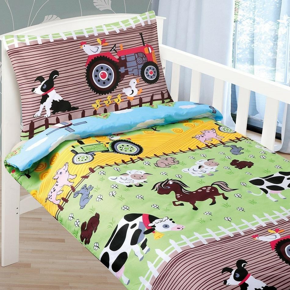 Bellatex Detské bavlnené obliečky do postieľky Agáta Farma, 90 x 135 cm, 45 x 60 cm, 90 x 135 cm, 45 x 60 cm