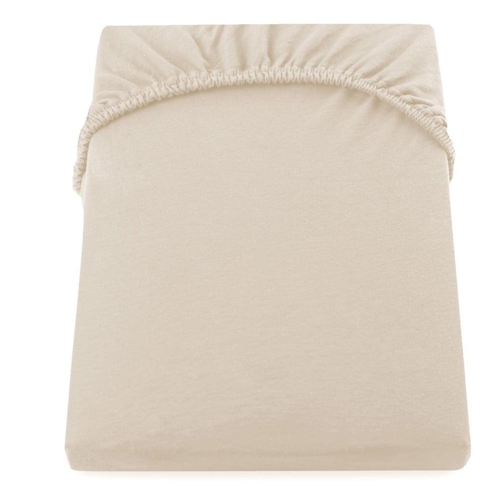 Béžová elastická bavlnená plachta DecoKing Amber Collection, 80/90 x 200 cm