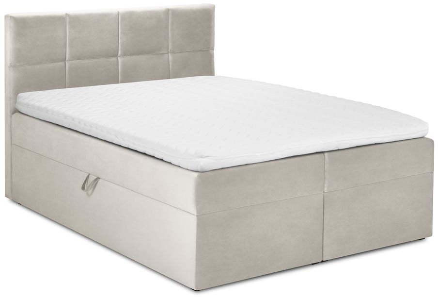 Béžová zamatová dvojlôžková posteľ Mazzini Beds Mimicry, 160 x 200 cm