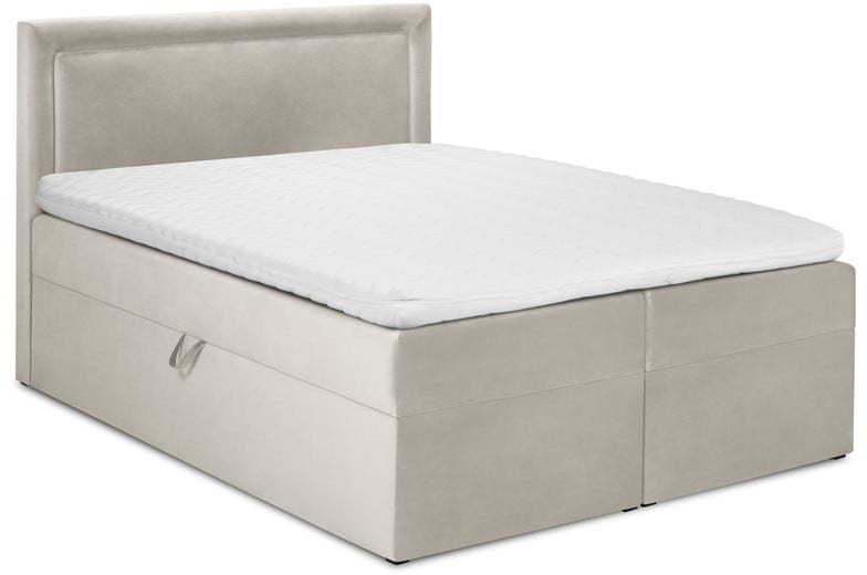 Béžová zamatová dvojlôžková posteľ Mazzini Beds Yucca, 200 x 200 cm