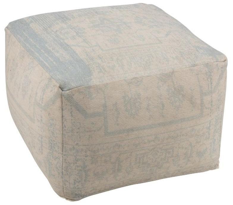 Béžovo-modrý hranatý puff Jacquard - 67 * 67 * 50cm