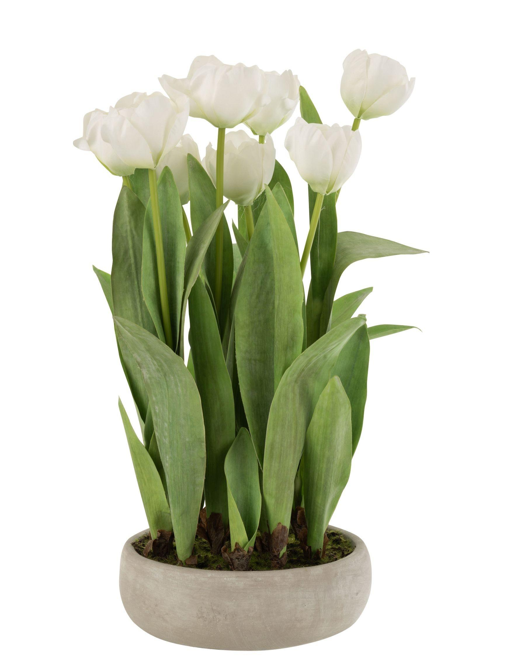 Biela dekoračné kytička Tulipány v črepníku - 30 * 31 * 48cm