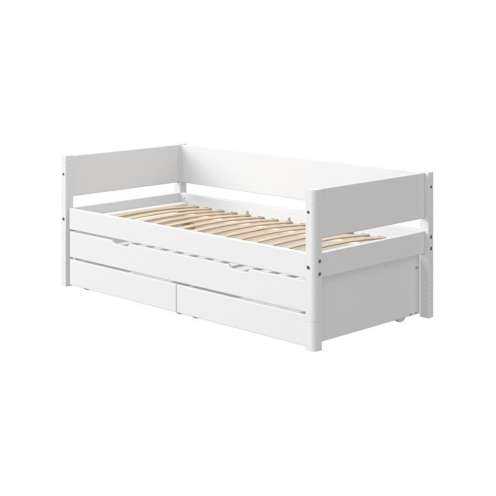 Biela detská posteľ s prídavným výsuvným lôžkom a úložným priestorom Flexa White