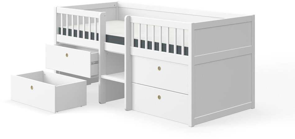 Biela detská posteľ z borovicového dreva so zásuvkami Flexa