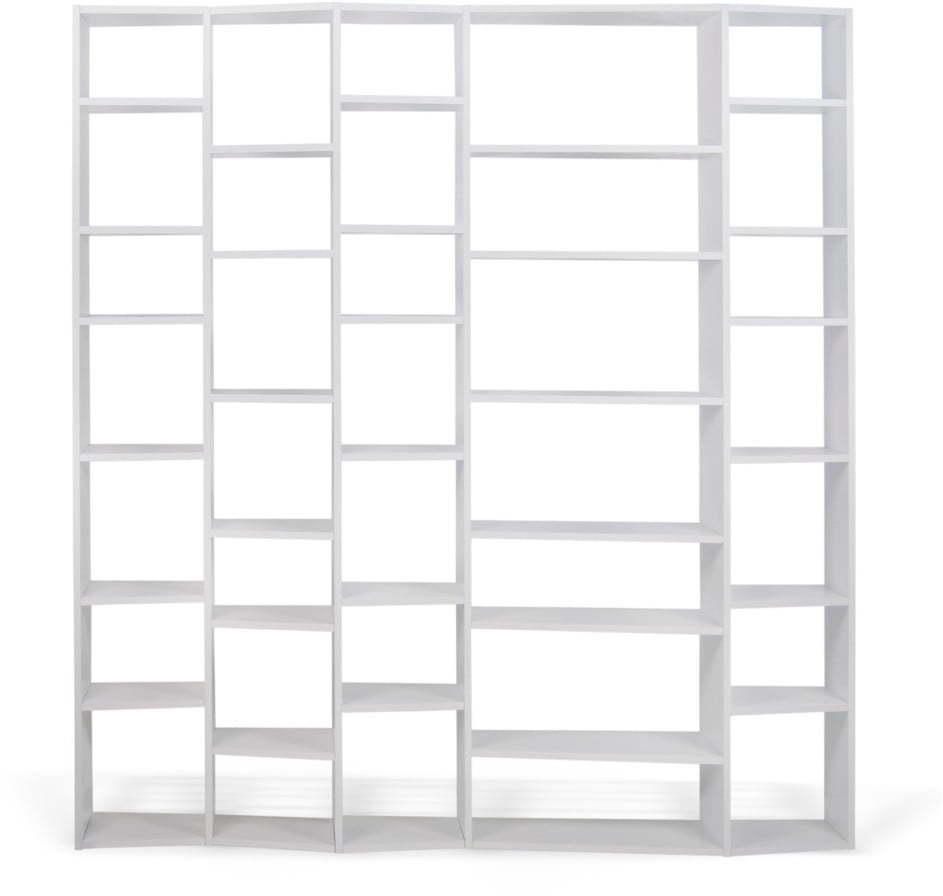 Biela knižnica TemaHome Valsa, šírka 216 cm
