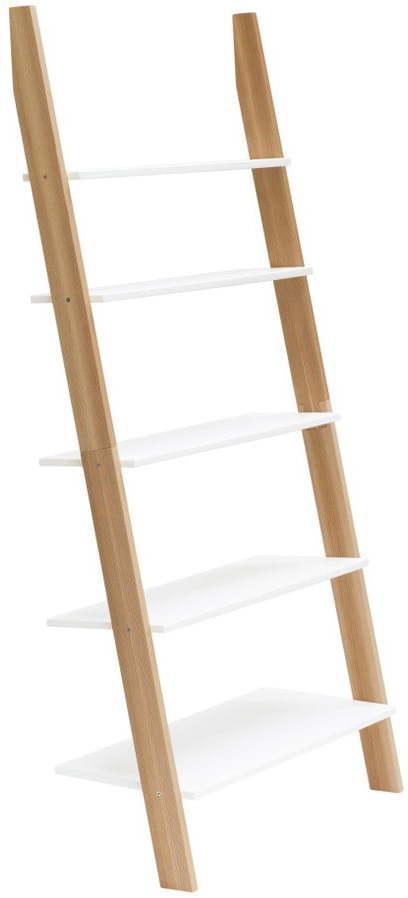 Biela rebríková polica Ragaba ASHME, šírka 85 cm