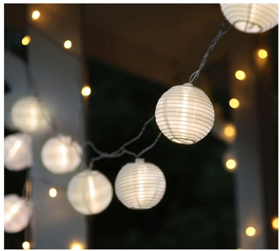 Biela svetelná LED reťaz s lampiónmi vhodná do exteriéru Star Trading Festival, 10 svetielok