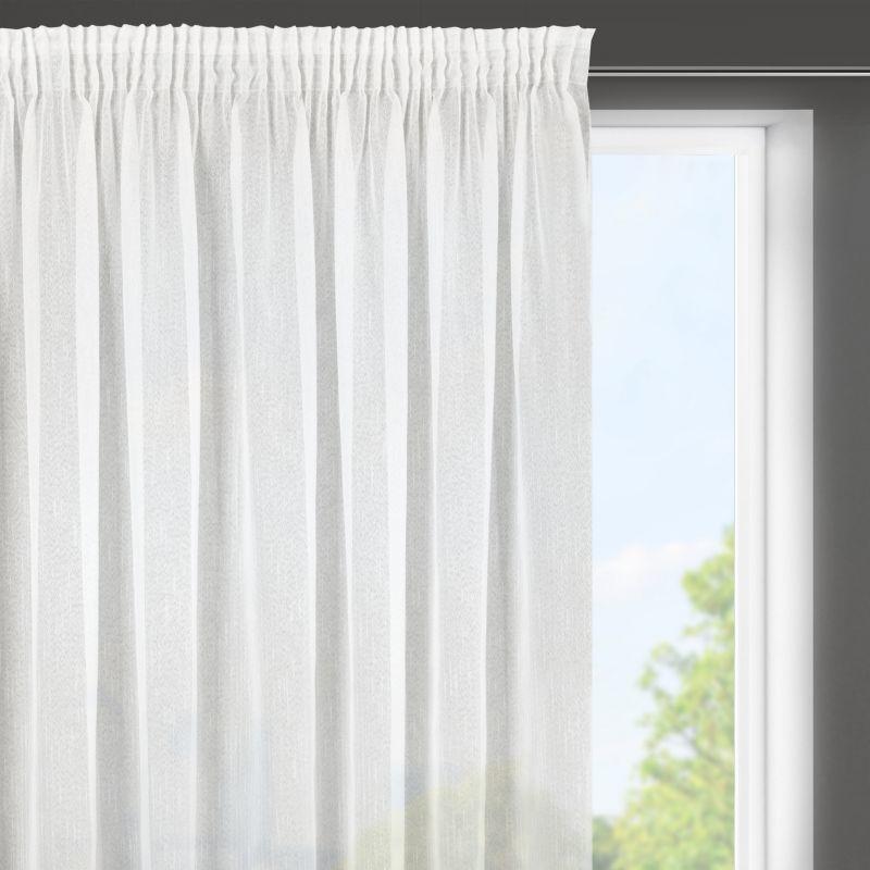 Biela záclona LILIAN na páske s dažďovým efektom, polopriehľadná 300X145 cm BF