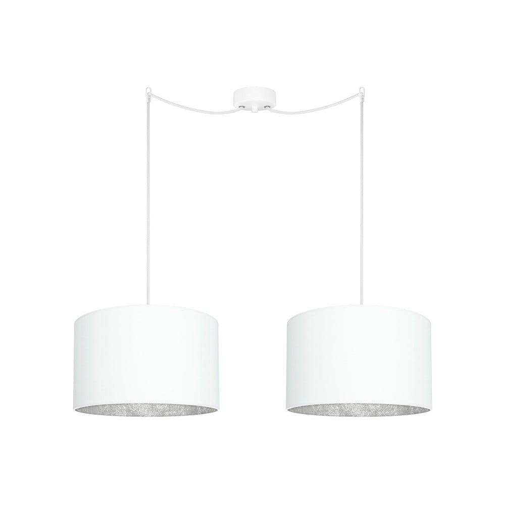 Biele dvojité stropné svietidlo s detailmi v striebornej farbe Sotto Luce MIKA Elementary