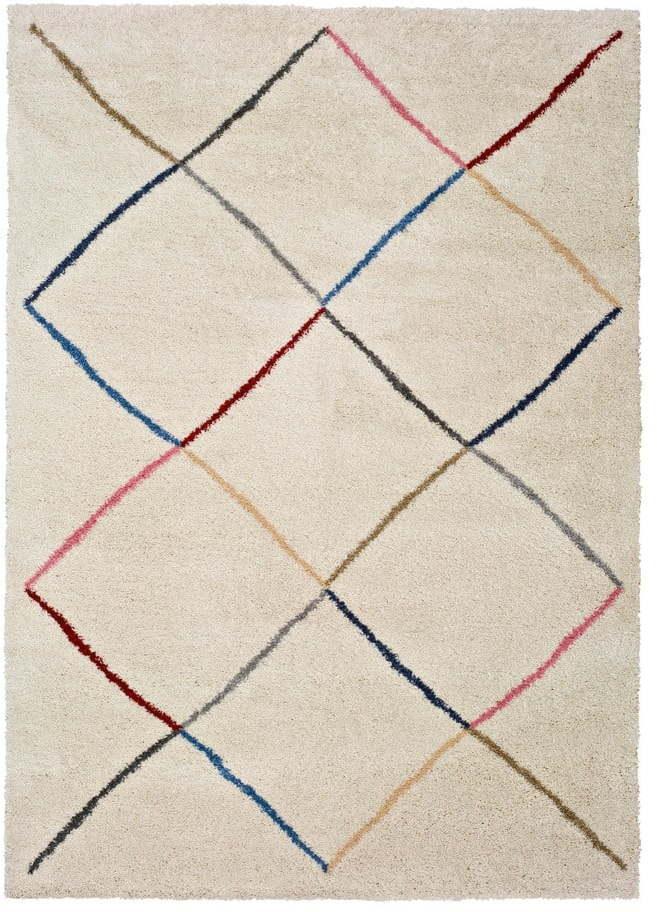 Biely koberec Universal Kasbah White, 133 × 190 cm