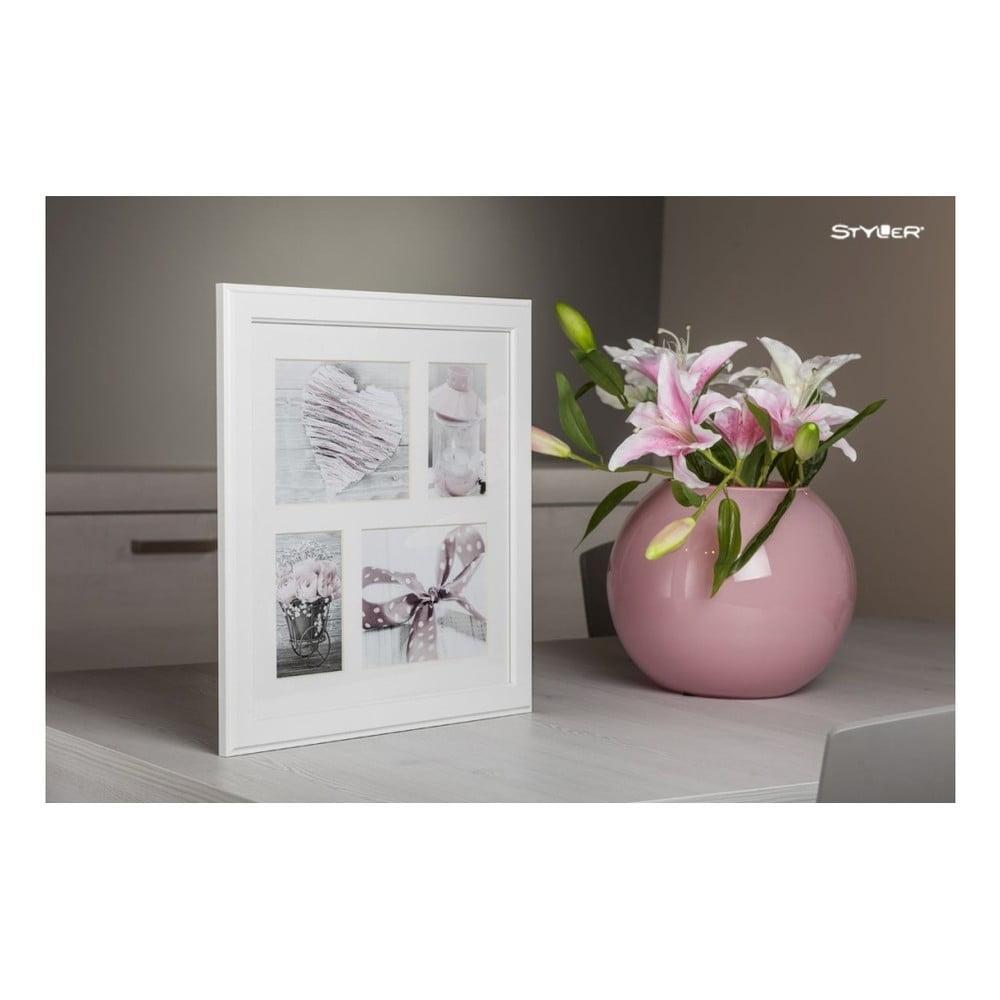 Biely rámček na 4 fotografie Styler Malmo, 39 × 39 cm