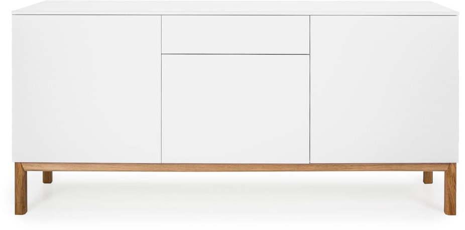 Biely trojdverový príborník s detailmi v dekore dubového dreva so zásuvkou Tenzo Patch