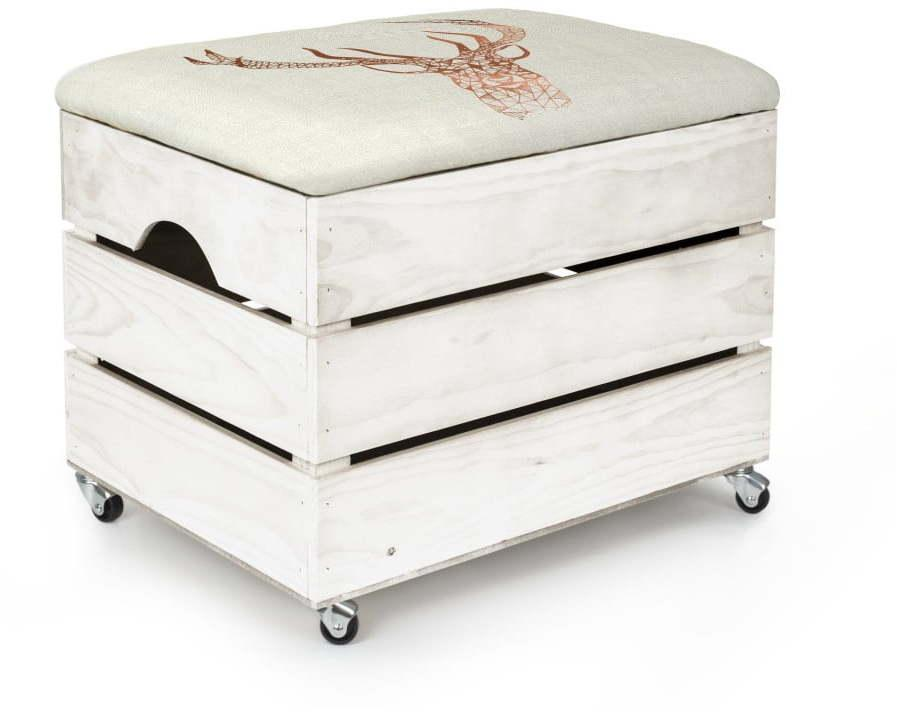 Biely úložný box so sedadlom Really Nice Things Deer, 50 × 35 cm