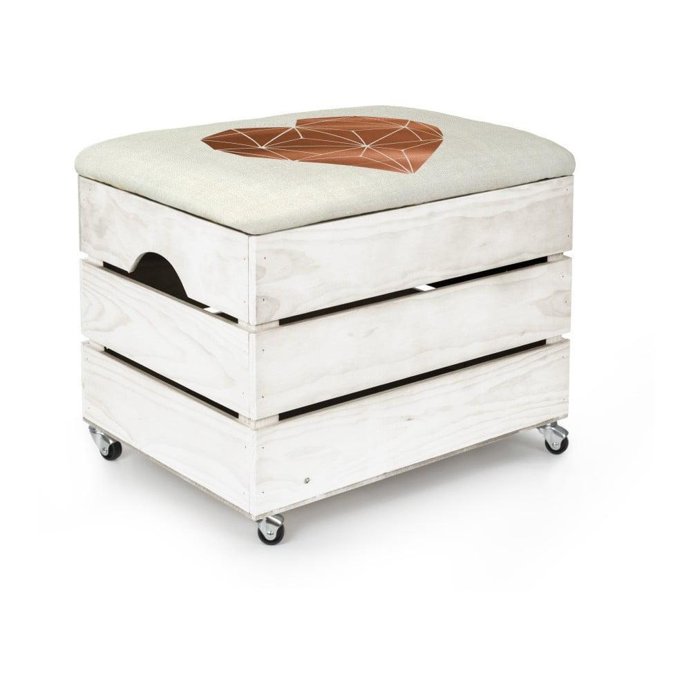 Biely úložný box so sedadlom Really Nice Things Heart, 50 × 35 cm