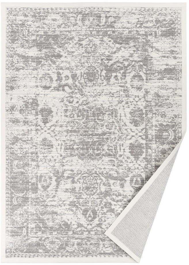 Biely vzorovaný obojstranný koberec Narma Palmse, 70 × 140 cm