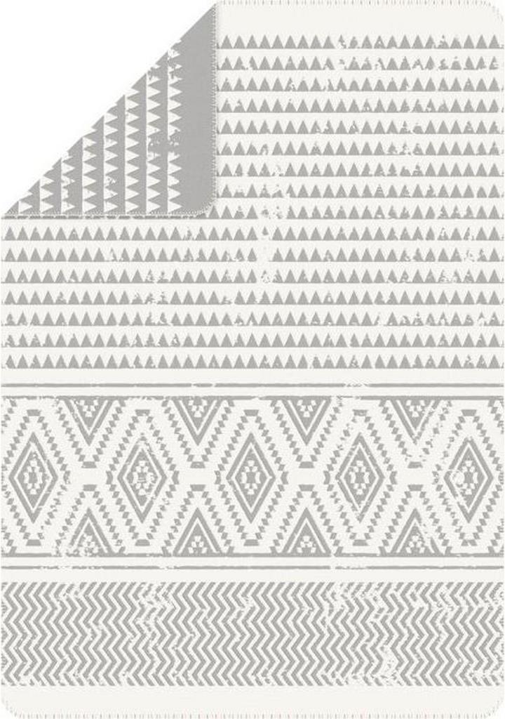 Bio:Vio PLÉD, bavlna, 140/200 cm - biela, svetlosivá