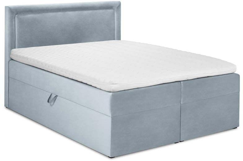 Bledomodrá zamatová dvojlôžková posteľ Mazzini Beds Yucca, 200 x 200 cm
