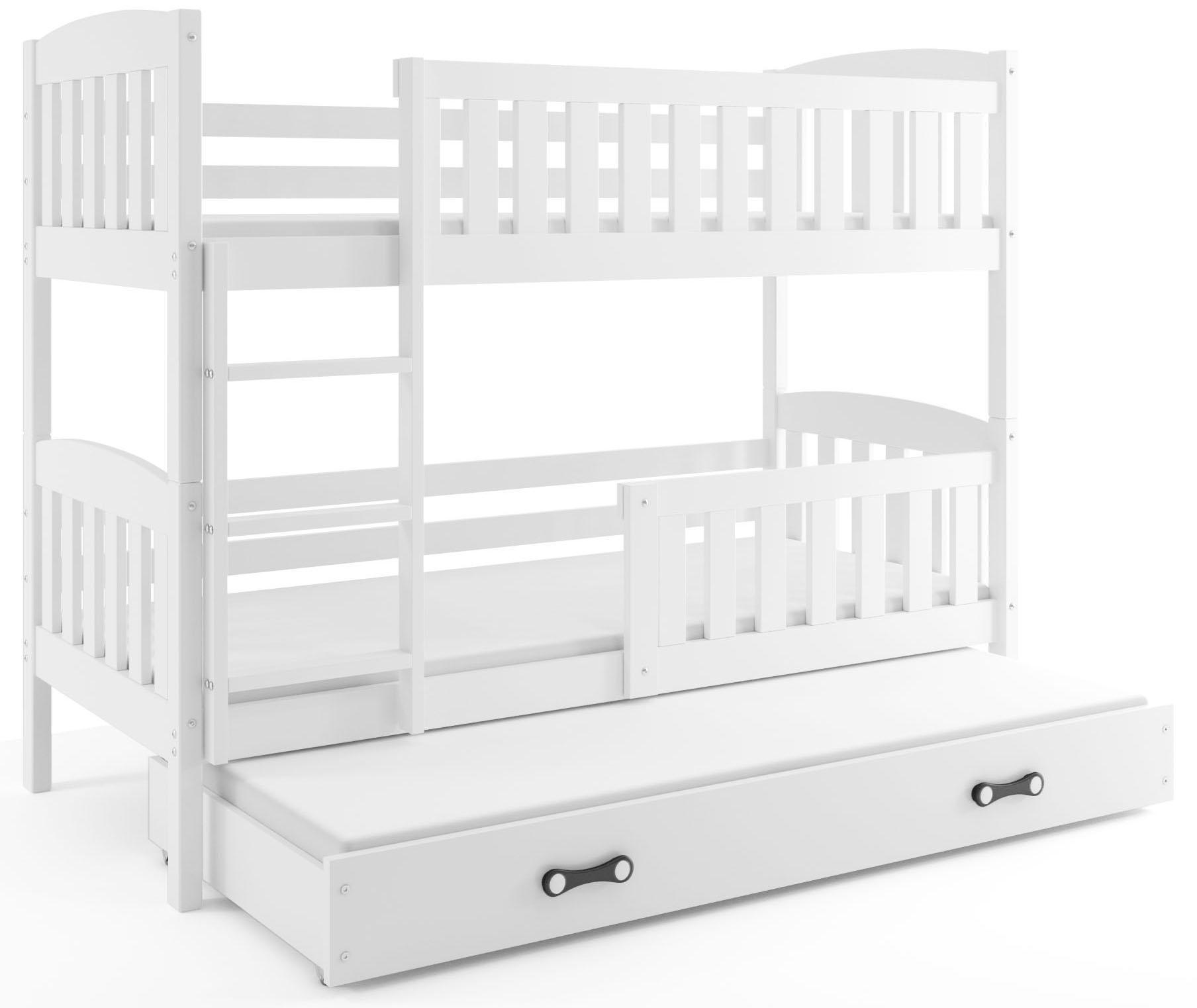 BMS Detská poschodová posteľ KUBUŠ 3 s prístelkou / biela Farba: biela / sivá, Rozmer.: 200 x 90 cm