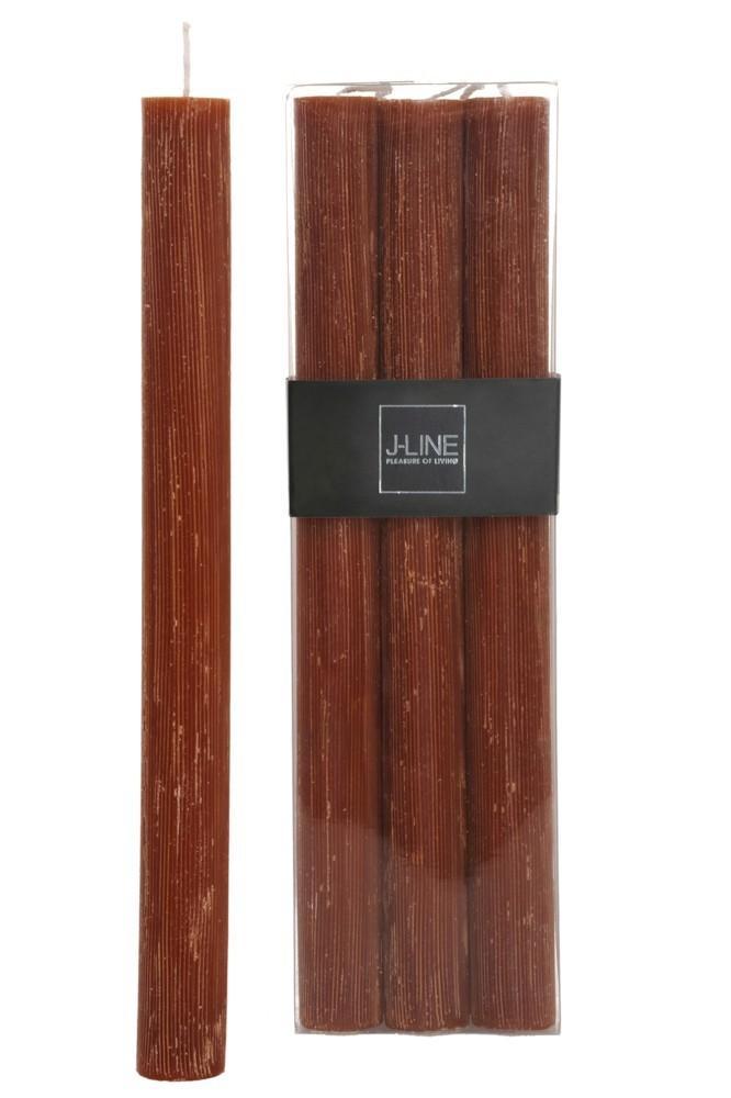 Box 6 oranžovo hnedých stolových sviečok Rust -13H / 24 cm