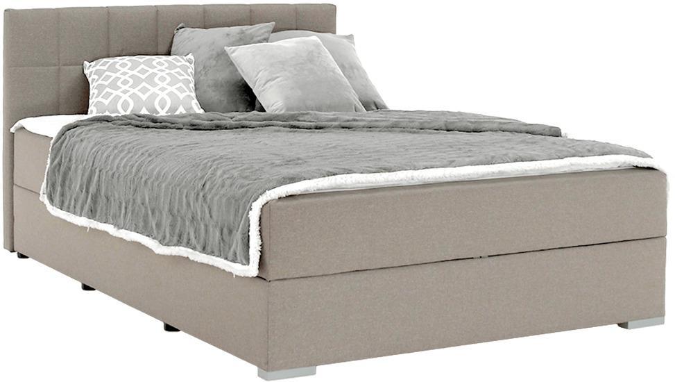 Boxspringová posteľ 140x200, sivohnedá TAUPE, FERATA TV KOMFORT