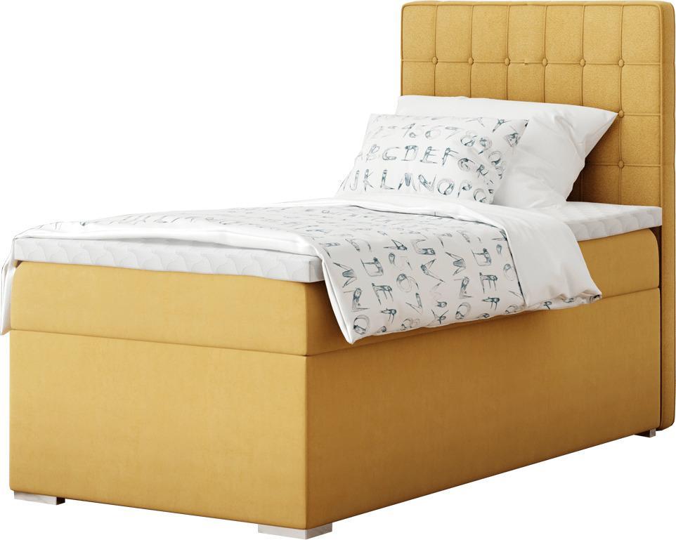 Boxspringová posteľ, jednolôžko, horčicová, 80x200, pravá, TERY