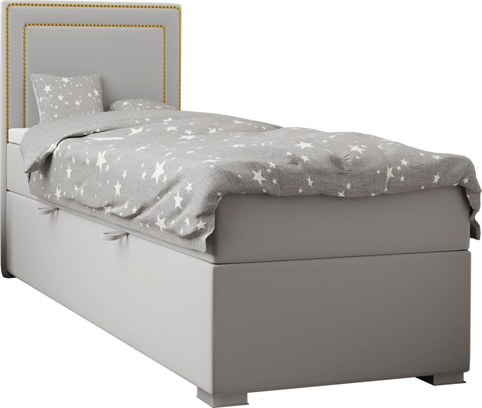 Boxspringová posteľ, jednolôžko, svetlosivá, 80x200, ľavá, BILY