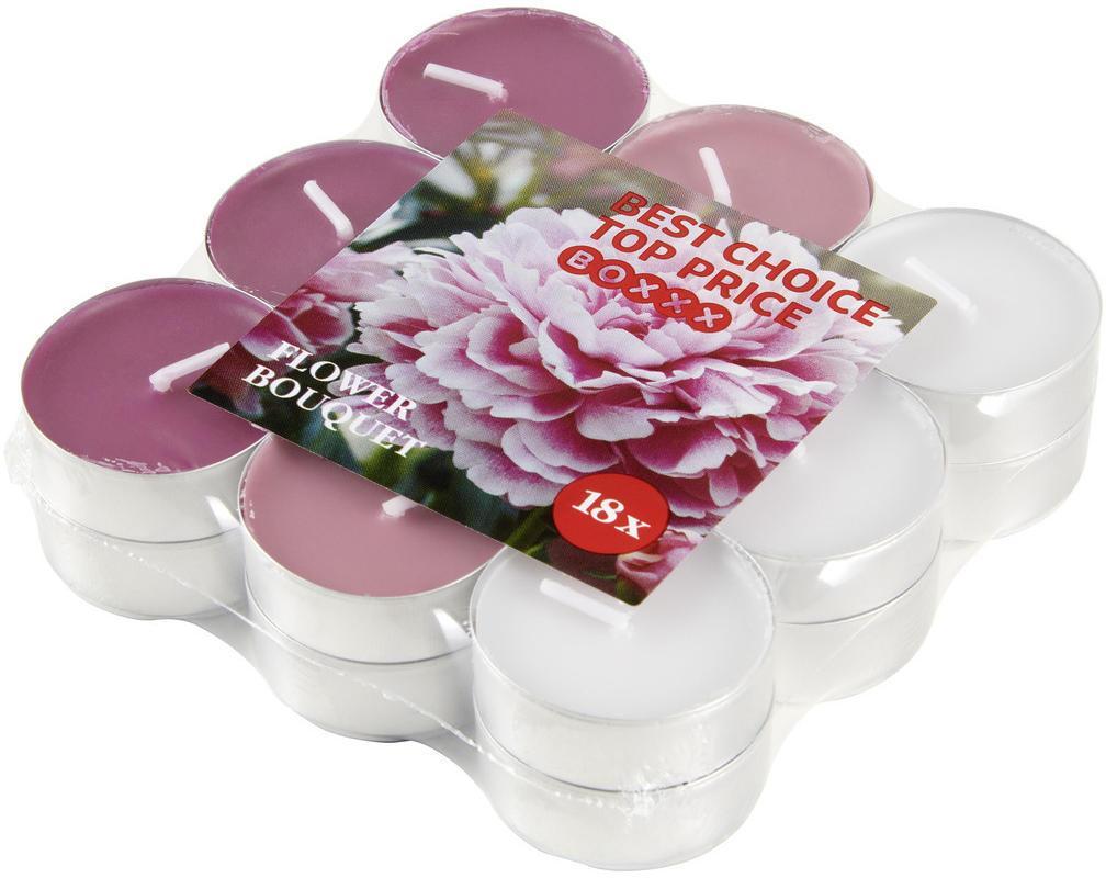 Boxxx SADA ČAJOVÝCH SVIEČOK kvetinové 18 kus - ružová, biela, farby slivky