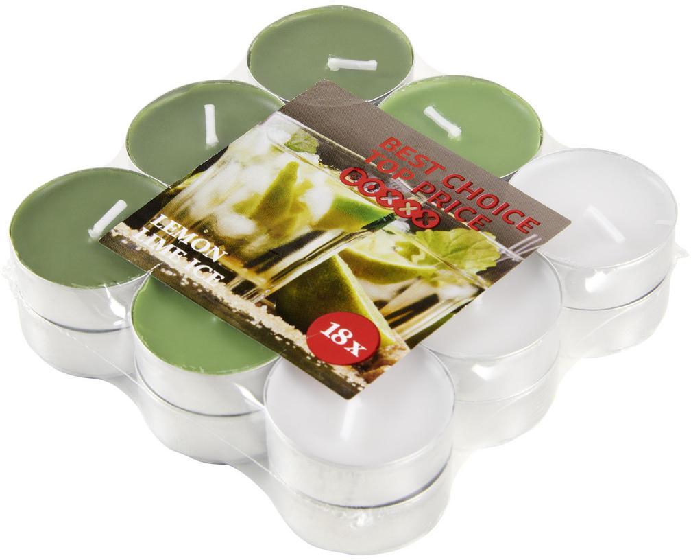 Boxxx SADA ČAJOVÝCH SVIEČOK zelený čaj 18 kus - zelená, biela, tmavozelená